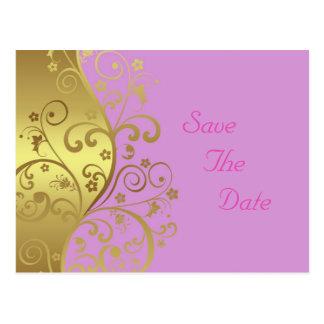 Save the Date--Gold Swirls & Pink Postcard
