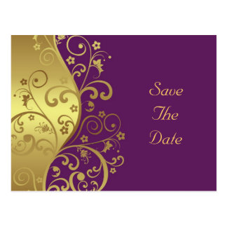 Save the Date--Gold Swirls & Red Violet Postcard