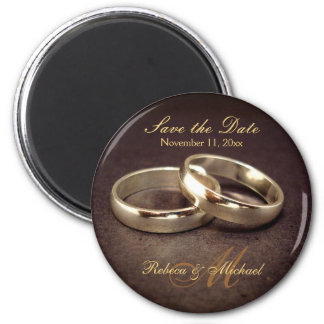 Save the Date - Gold Wedding Band Magnets