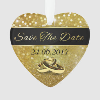 Save the Date Gold Wedding Rings - Heart Ornament