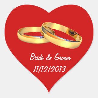 Save the date golden wedding rings heart heart sticker