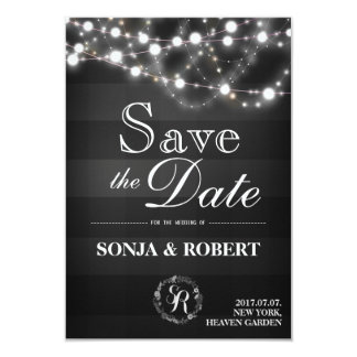 Save the Date - Gothic Black Checks White Lights Card