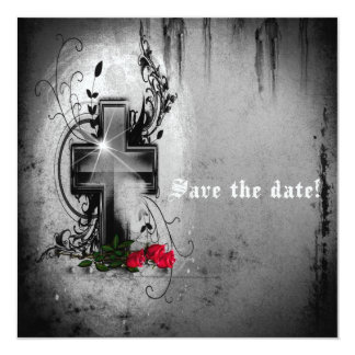 Save The Date Gothic Cross and Roses Invitation