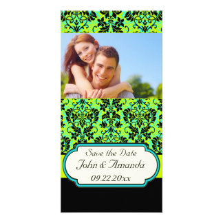 Save the Date ~ Green and Black Damask Custom Photo Card