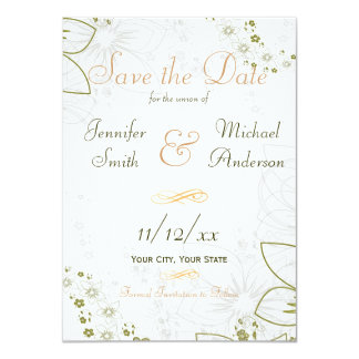 """Save the Date Green and Gold Simple Wedding 4.5"""" X 6.25"""" Invitation Card"""