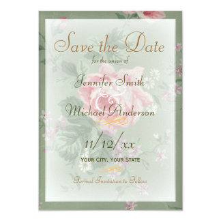 """Save the Date Green and Vintage Pink Rose Wedding 4.5"""" X 6.25"""" Invitation Card"""