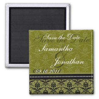 Save the Date Green Elegant Damask Magnet
