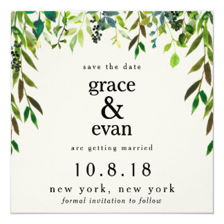 Save the Date Green Floral Leaf Olive Wreath Card