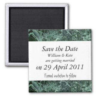 Save the date green marble magnet