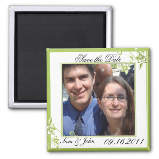 Save the Date Green White Floral Blossoms Magnet