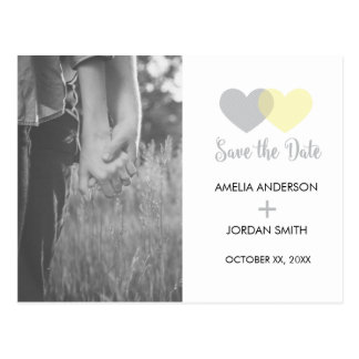 Save the Date Grey Yellow Heart Postcard
