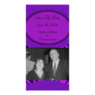 Save the Date Groovy Purple Abstract Photo Greeting Card