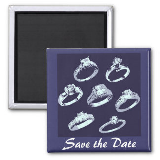 Save the Date/He Popped the Question Square Magnet