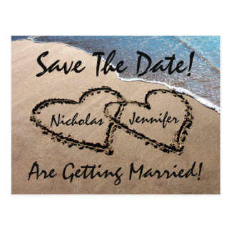Save The Date Hearts In Sand Wedding Postcard