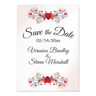 Save the Date Hearts White Magnetic Card