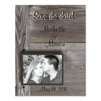 """Save the date! in Barn wood 4.25"""" X 5.5"""" Invitation Card"""