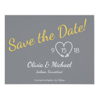 Save the Date in Yellow and Gray Card
