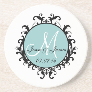 Save the Date Initial Names Wedding Coaster Blue