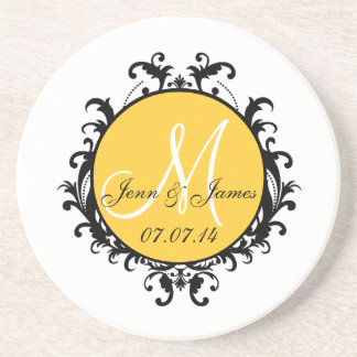 Save the Date Initial Names Wedding Coaster Yellow