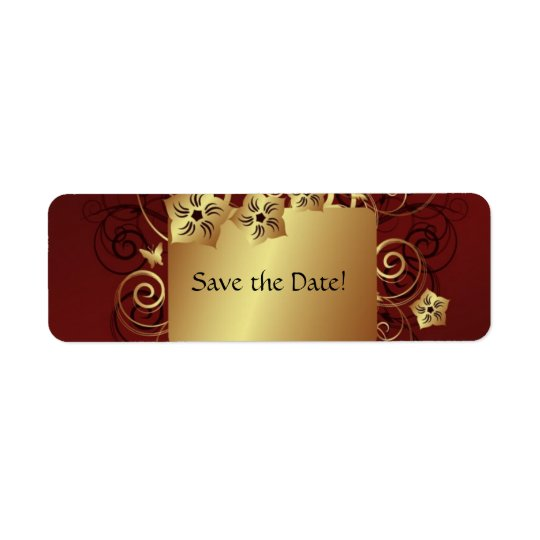 Save the Date Label - Gold Return Address Label