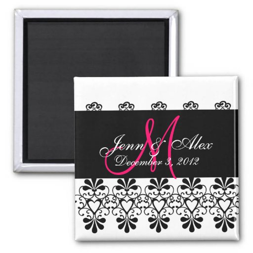 Save the Date Lace Hearts Monograms Names Magnet Refrigerator Magnets