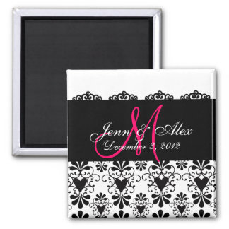 Save the Date Lace Hearts Monograms Names Magnets Refrigerator Magnets