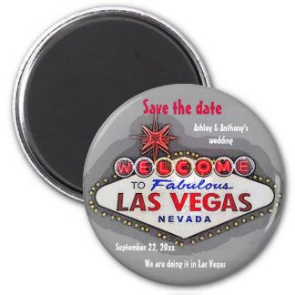 Save the Date Las Vegas Silver Gray Magnet