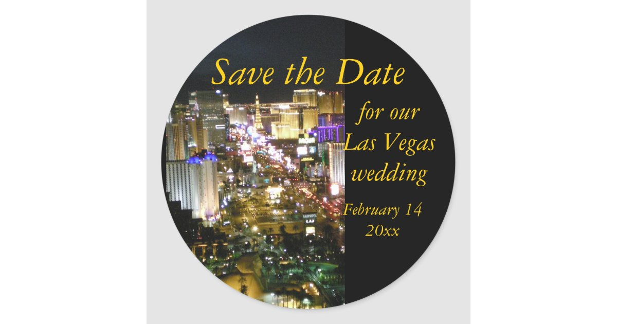 Save the date las vegas skyline round sticker zazzle for Arts and crafts stores in las vegas