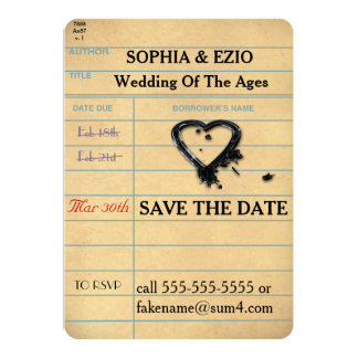 "Save the Date Library Card 5"" X 7"" Invitation Card"