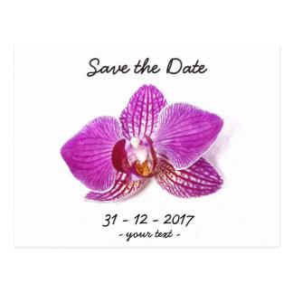 Save the Date, Lilac phalaenopsis floral art Postcard