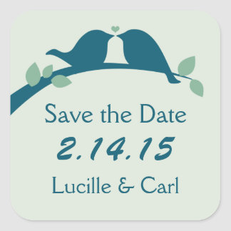 Save the Date Love Birds Square Sticker