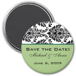 Save The Date Magnet Baroque Black and Green