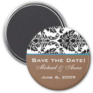 Save The Date Magnet Baroque Brown Aqua Blue
