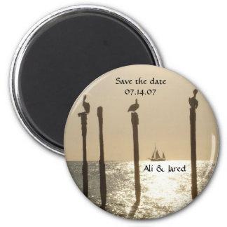 Save the date magnet- beach/destination wedding 2 inch round magnet