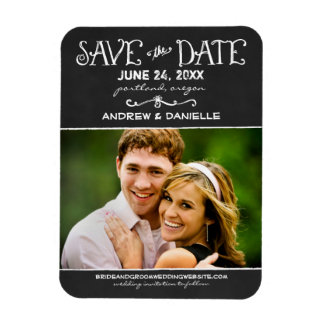Save the Date Magnet | Black Chalkboard