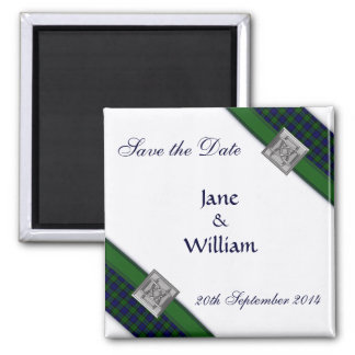 Save the Date Magnet Blue with Black Watch Tartan