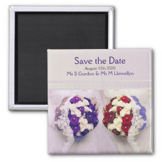 Save the Date Magnet Bouquet Brides Gay Wedding 2 Inch Square Magnet