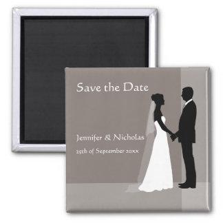 Save the Date Magnet - Bride & Groom - Grey Beige