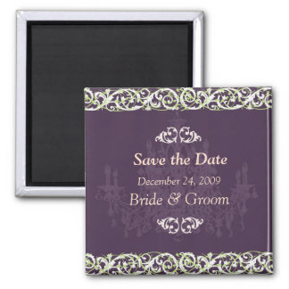 Save the Date Magnet, chandelier + vine Magnet