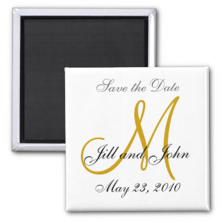 Save the Date Magnet First Names, Initials Gold