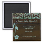Save the Date Magnet floral damask blue brown