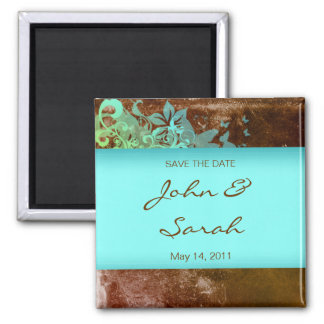 Save the Date Magnet floral grunge blue brown