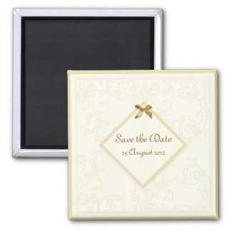 Save the Date Magnet - Ivory Faux Embossed Swirls