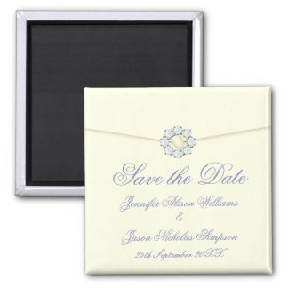 Save the Date Magnet Ivory with Pearl & Diamond