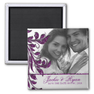 Save the Date Magnet Photo Purple Sparkle