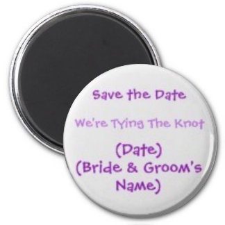 Save the Date Magnet Round - personalized text