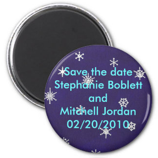 Save the date magnet, snowflakes on navy blue magnet