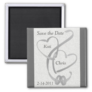 Save the date magnet Wedding 2 hearts and 2 rings