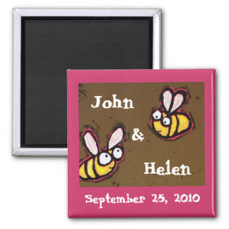 Save the date magnet with bees