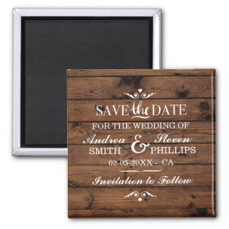 Save The Date Magnet Wood Couple's Wedding